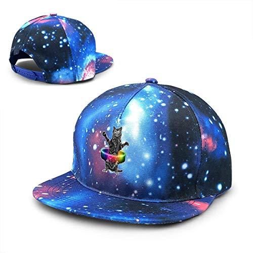 Rogerds Baseball Kappe für Herren/Damen,Sternenhimmel Mütze,Hüte Hula-Hoop CAT Starry Sky Flat Along Baseball Cap Hip Hop Hat Unisex Teens Hat