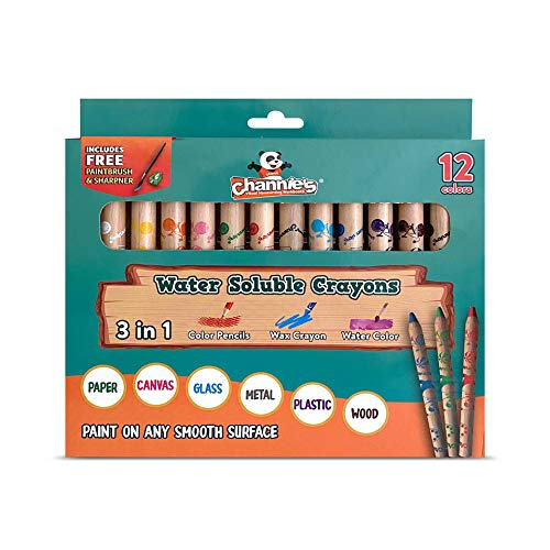 Channie's 3 in 1 Water Soluble Crayons for Kids with Free Paint Brush & Sharpener, 12 Color Set