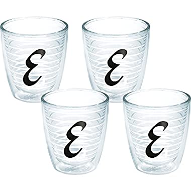 Tervis Black Monogram E Tumbler (Set of 4), 12 oz, Clear