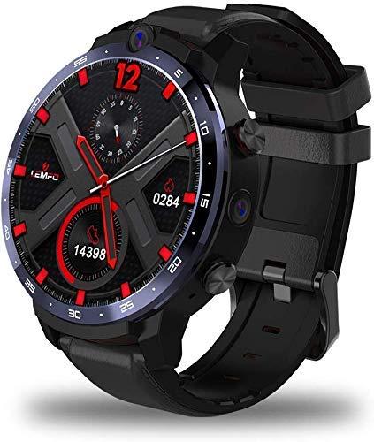 LEM12 Smartwatch, Face ID 1,6 Pouces Double caméra 4G Smart Watch Android 7.1 3GB 32GB 1800mah Battery Men Smartwatch Strap Replaceable (Noir)