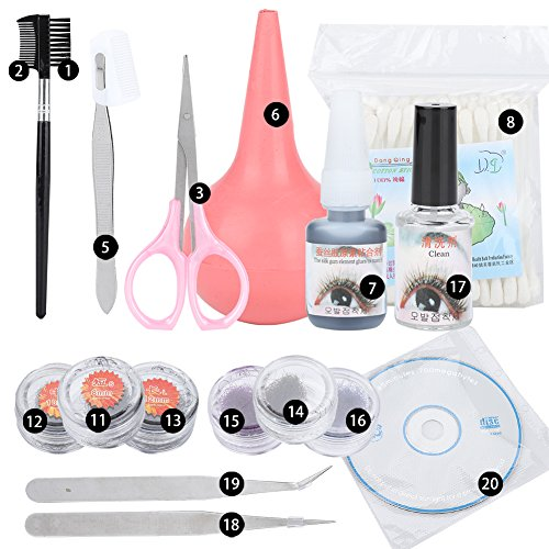 BigBig Style Kit de rallonge de cils Kit de dissolvant de colle pour cils individuels