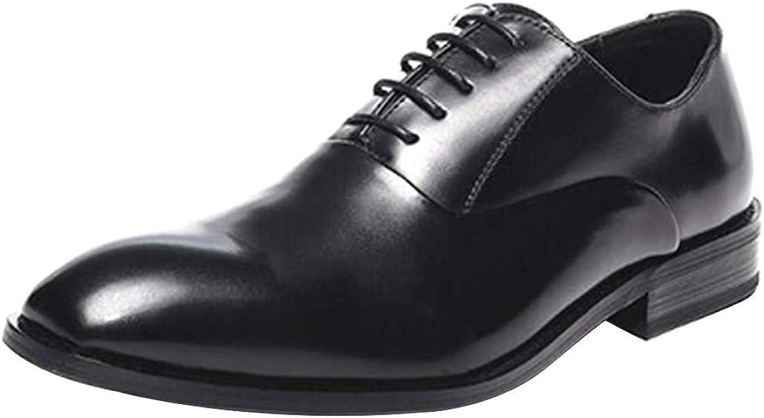 Inlefen Men Leather Shoes Classic Pure Black Comfortable Non-slip Oxford Shoes