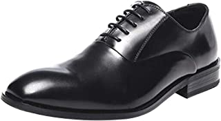 GYUANLAI Men's Leather Shoes Smooth Small Round Head Dress Shoes Business Casual Shoes Low-cut Rubber Sole Shoes