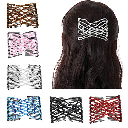 CCbeauty 6 Pieces Magic Hair Comb Elastic Beaded Hair Clips Women Bride Double Slides Stretching Hairpins Combs for Popular Hairstyles
