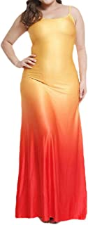 MK988 Women's Gradient Color Spaghetti Strap Beach Casual Plus Size Beach Evening Party Maxi Dress