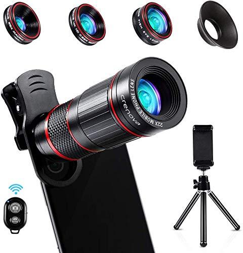 Crenova Phone Camera Lens Kit, 11 in 1 Universal 22X Zoom Telephoto Lens + 25X Macro Lens + 0.62X Wide Angle Lens + 235° Fisheye Lens + Bluetooth Shutter + Extendable Tripod for iPhone, Android Phone