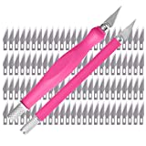 WA Portman Craft Knife Set - 2 Pink Comfort Grip Hobby Knives and Hobby Blades - Knife Kit with 100 Premium SX5 Carbon Steel #11 Replacement Blades - X-acto Knife Compatible Hobby Tool Set