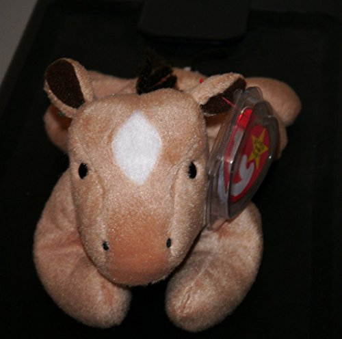 TY Beanie Babies Derby the Horse Stuffed Animal Plush Toy - 8 inches long - Light Brown with White Diamond on Head and Furry Mane by SmartBuy by Smartbuy