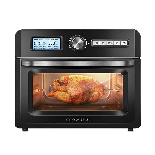 CROWNFUL 19 Quart Air Fryer Toaster Oven, Convection Roaster with Rotisserie &...