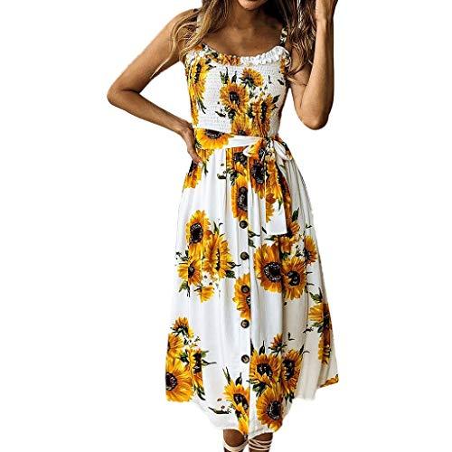 OIKAY Sunflower Button Damenkleid Damen Frühling und Sommer Mode Lässig Gedruckt Kleid