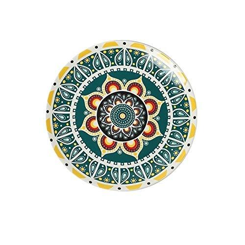 Yqs Vajilla Estilo Bohemio Placas Planas Plato Plato Decorativo patrón Decorativo Marruecos étnico-Estilo de la Placa Vajilla (Color : E, Plate Size : 8 Inch)