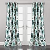 Lush Decor Room Darkening Window Curtain Panel Pair Leah Floral Insulated Grommet, 84' L, Blue