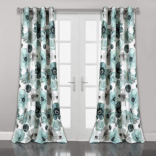 "Lush Decor Room Darkening Window Curtain Panel Pair Leah Floral Insulated Grommet, 84"" L, Blue"
