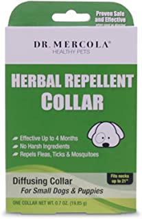 Dr. Mercola, Herbal Repellent Collar, for Small Dogs and Puppies, Provides Long Lasting Protection from Fleas, Ticks, and Mosquitos for up to 4 Months, Free of harsh Chemicals