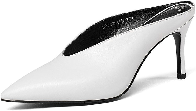 Nine Seven Genuine Leather Women's Pointed Toe High Stiletto Heel Handmade Slide Scarpin Mule.