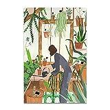 U/N Moda niña Plantas Hojas ilustración Pared Arte Lienzo Pintura Carteles nórdicos e Impresiones Cuadro de Pared para Sala de Estar-2