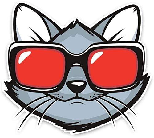 MOLDK Pegatinas de Coche Pegatina para el Parachoques Fresca de la decoración del Coche de Las Gafas de Sol del Gatito del Gato de 14.6 * 13Cm