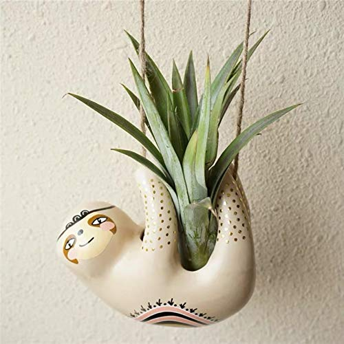 Cute Sloth Ceramic Hanging Succulent Planters –Pottery Bonsai Cactus Flower Pot, Air Plant Vase Holder for Indoor and Outdoor Decoration (1)