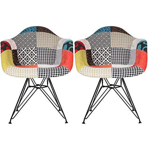 2xhome - Set of Two (2) - Multi-Color - Modern Upholstered Armchair Fabric Chair Patchwork Multi-Pattern Black Wire Leg Eiffel Dining Room Chair with Arm for Living Room Dining Room