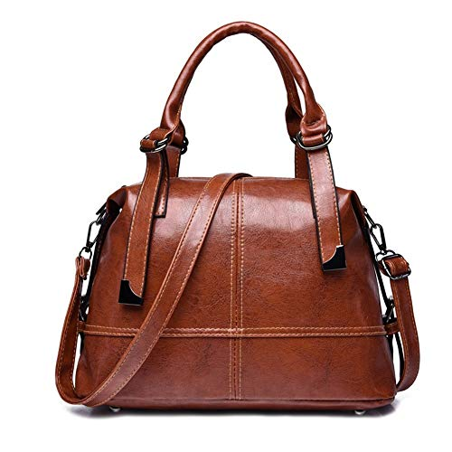YuJian12 PU soft leather shoulder messenger bag travel shopping handbag Casual Handbag (Color : Brown)