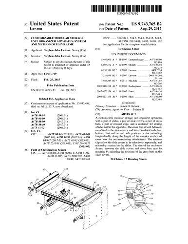 Customizable modular storage unit organizer apparatus, system and method of using same: United States Patent 9743765