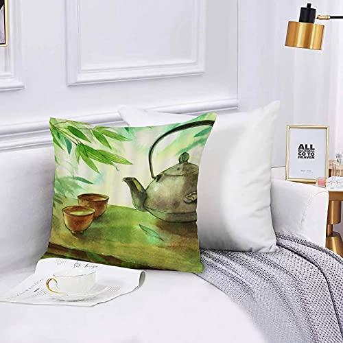 dekorativer Kissenbezug,Stuhl, Bettwäsche, Sado Zen Vintage Teekanne Tasse unter Willow Botanical Leaf Sommer...