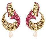 Touchstone Pendientes de joyería de diseñador de pescado fucsia blanco bollywood indio para mujer Rosado