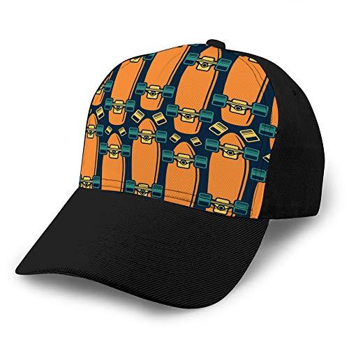 6 Unisex Baseballmütze Trucker Hat Adult Cowboy Hat Hip Hop Snapback nahtloses Muster mit dem Bild von Longboard Fitted Hat