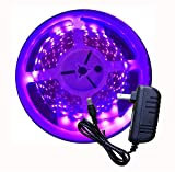 AMARS 16.4ft 5050 SMD LED UV Black Light Strip Kit, 12V Flexible Blacklight