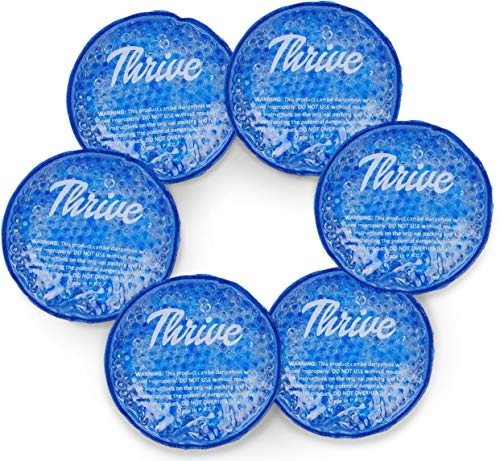 Round Hot & Cold Gel Bead Ice Packs - Heat & Ice Therapy (6 PACK) - Small Flexible reusable with cloth fabric backing - Great for Wisdom Teeth, Breastfeeding, Tired Eyes, Face, Headaches, Sinus Relief