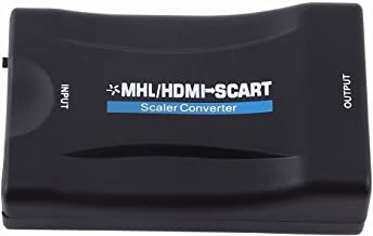 HDMI To SCART Adapter,Ozvavzk 1080p Video Audio Converter Scaler with DC Power Adapter for Smartphone STB DVD