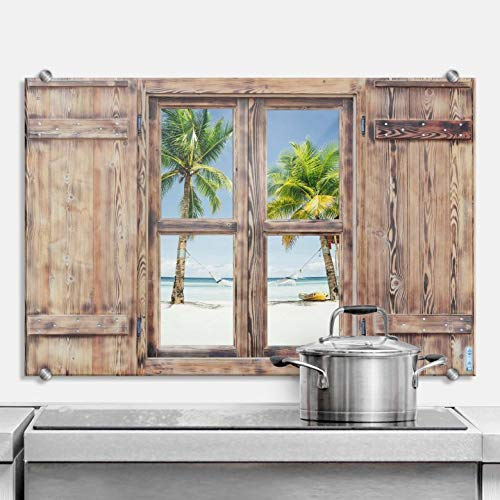 Spatscherm Keuken - Hangmat op het Strand - Hittebestendig Glazen Spatwand inclusief Luxe Wandklemmen - 80x60 cm (bxh)