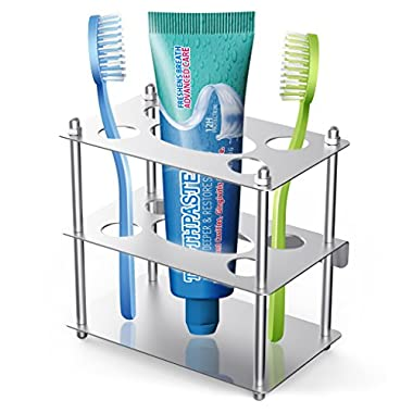 Coobal Toothbrush Holder, Stainless Steel Toothbrush and Toothpaste Holder, Razor Blade Organizer Stand for Bathroom - Square