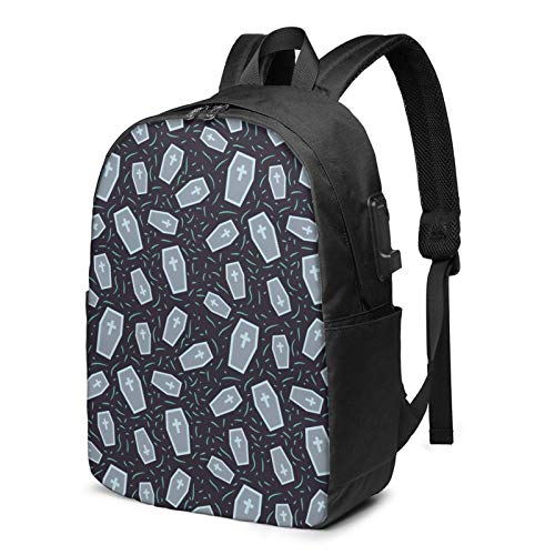 Reise-Laptop-Rucksack, Halloween-Särge Schwarzer Reise-Laptop-Rucksack College-Schultasche Lässiger Tagesrucksack mit USB-Ladeanschluss