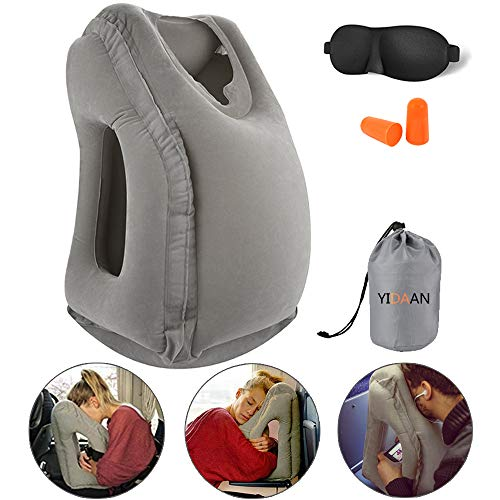 Inflatable Travel Pillow, Travel Accessories for Women and Men, Travel Neck Pillow, Airplane Pillow, Flight Sleep Pillow, Travel Pillows for Airplane, Car, Office Napping for Neck Head Fully Support