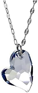 iJewelry2 Blue Swarovski Crystal Heart Shaped Faceted Pendant Sterling Silver Chain Necklace 17