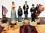 US American Civil War Queens Set of Chess Men Pieces Hand Painted - NO Board