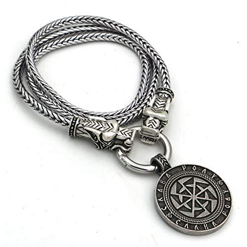 Viking Kolovratsllavics Amulett Wolfskopf Halskette Nordic Mythos Sonnenrad Anhänger Herren Silver Vintage Silber,50cm
