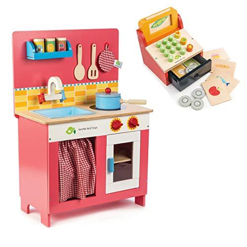tender leaf toys 木製 チェリーパイキッチン &ティルウィズマネー/レジスターセット 収納付 ごっこ遊び 男の子 女の子 ままごと 知育玩具