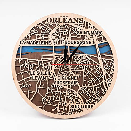 Orleans 12 Inch Wooden Clock Gift for Xmas France Wooden Decor Orleans Wooden Clock City Art Birthday Gift for Man Small Scale Map Gift Wooden Wall Clock with Orleans Map Design 3D Wooden Map Clock