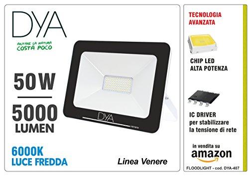 Faro Led FLOODLIGHT linea VENERE da esterno IP65 50W 5000 Lumen, Luce Fredda 6000K (50)