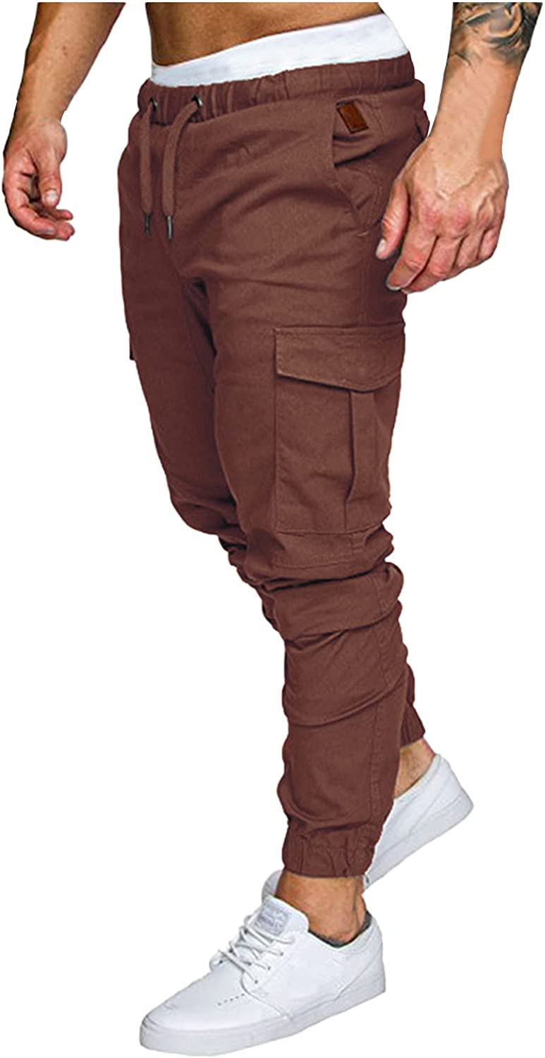 Huangse Mens Slim Fit Trousers with Pockets Casual Stretch Waist Drawstring Pants Autumn Winter Joggers Workout Sportswear