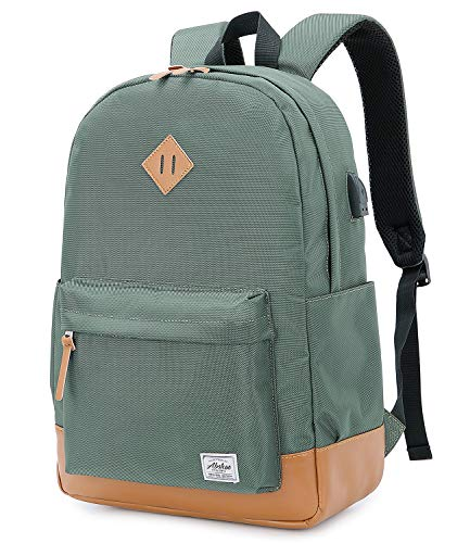 Abshoo Classical Basic Womens Travel Backpack For College Men Water Resistant Laptop School Bookbag (USB Army Green)