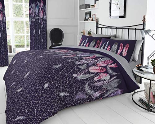 Gaveno Cavailia Luxury Super Soft Feathers Duvet Cover, Poly-Cotton Easy Care Quilt Set with Matching Pillowcase, Purple, Single Size Bedding, 50% Polyester & 50