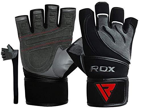 RDX Guanti Palestra Pelle Fitness Lunghi Polso Sollevamento Pesi Allenamento Antisudore Bodybuilding Imbottiti Antiscivolo