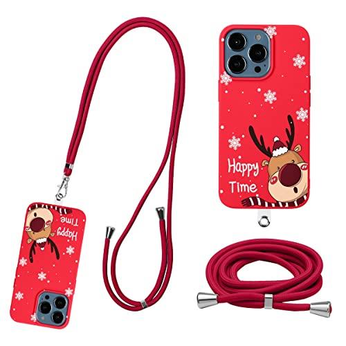 Pnakqil para Apple iPhone 13 6,1' Funda con Correa de Cuello Móvi con Parche Ajustable Desmontable, Carcasa Suave TPU Rojo Silicona Case con Correa Colgante Collar, Alce
