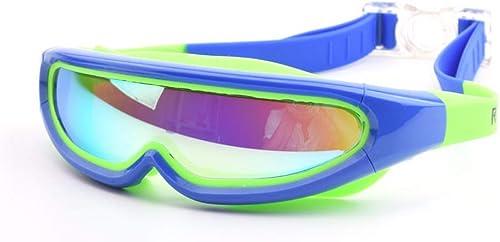 Ogquaton Lunettes de galvanoplascravate de grand cadre pour enfants Lunettes de natation anti-buée imperméables