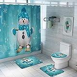 Yamer 4 Teile/Satz Weihnachten Duschvorhang Sets, Weihnachtsmann Weihnachten Schneemann Wasserdicht Duschvorhang Set Badematten Teppiche mit Rutschfesten Teppichen