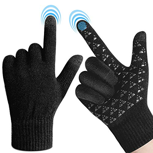 Winter Gloves Touchscreen for Men Women - Warm Knit Gloves with Thickened Cuff & Anti-Slip Palm, 3 Finger Touchscreen for Texting & Driving