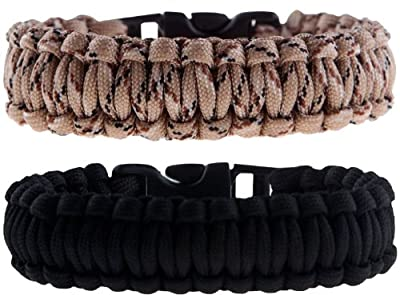 The Friendly Swede Paracord Survival Bracelets - Set of 2 - Easy to Open Clasp (Black/Desert Camo, 7.5 inches / 19 cm Wrists)